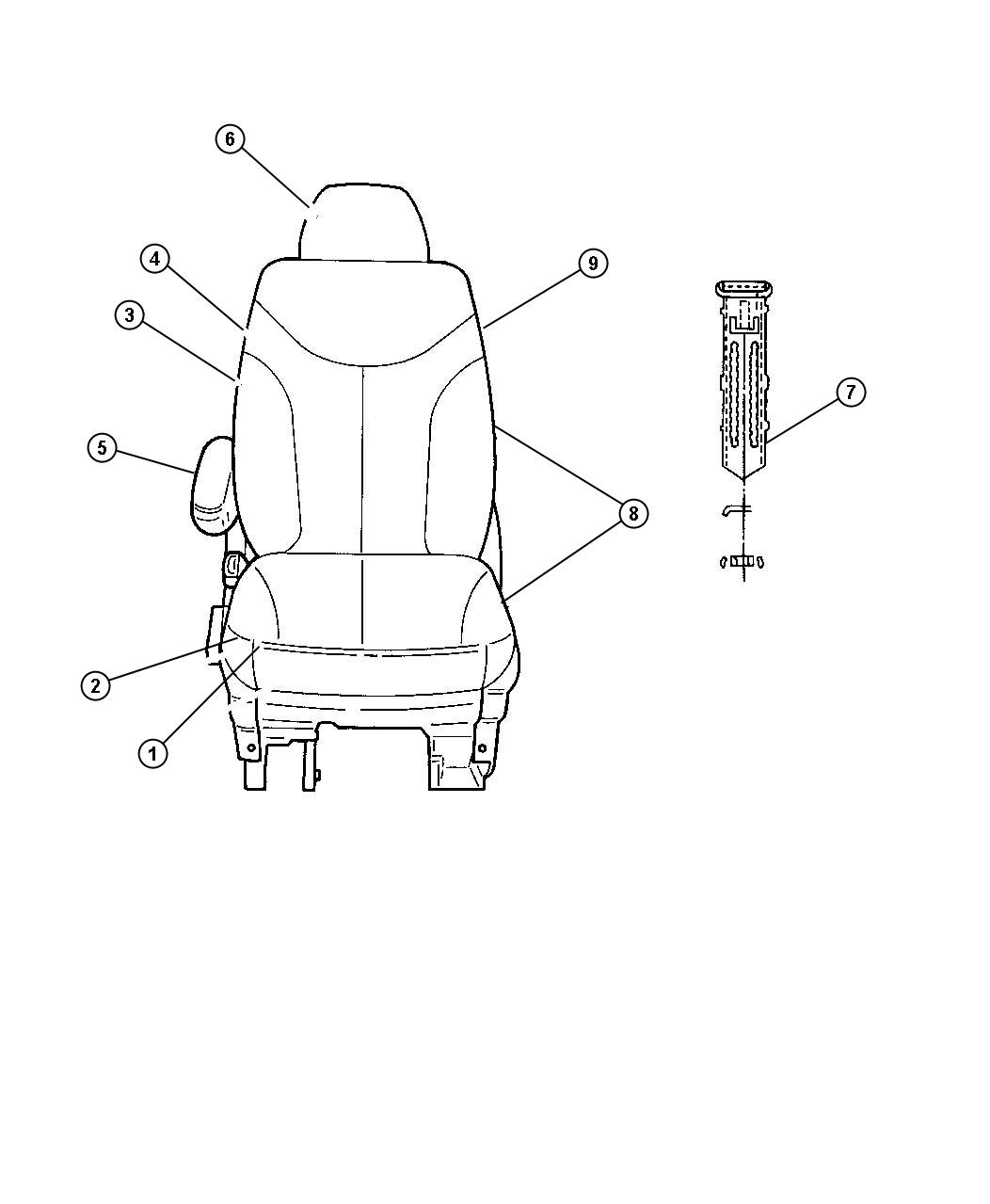 Chrysler Town & Country Cushion. Front seat. Left. [j1