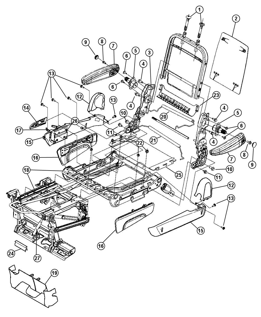 2005 Chrysler Town And Country Parts Diagram Seat