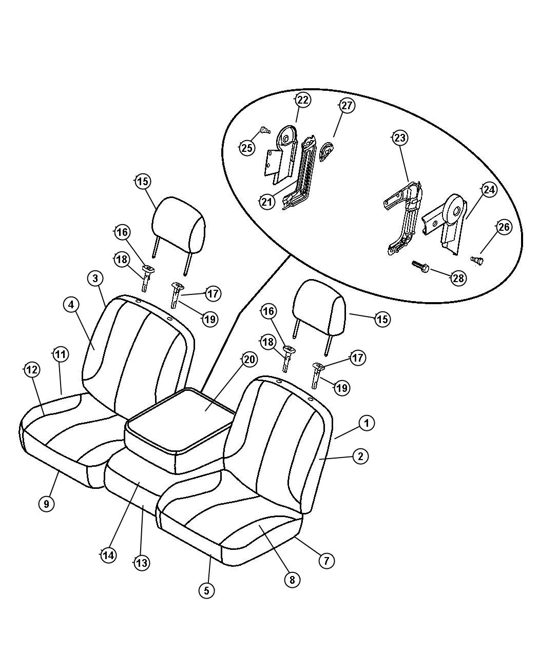 Dodge Ram 1500 Cover. Front seat center. [j3]. Trim: [hd