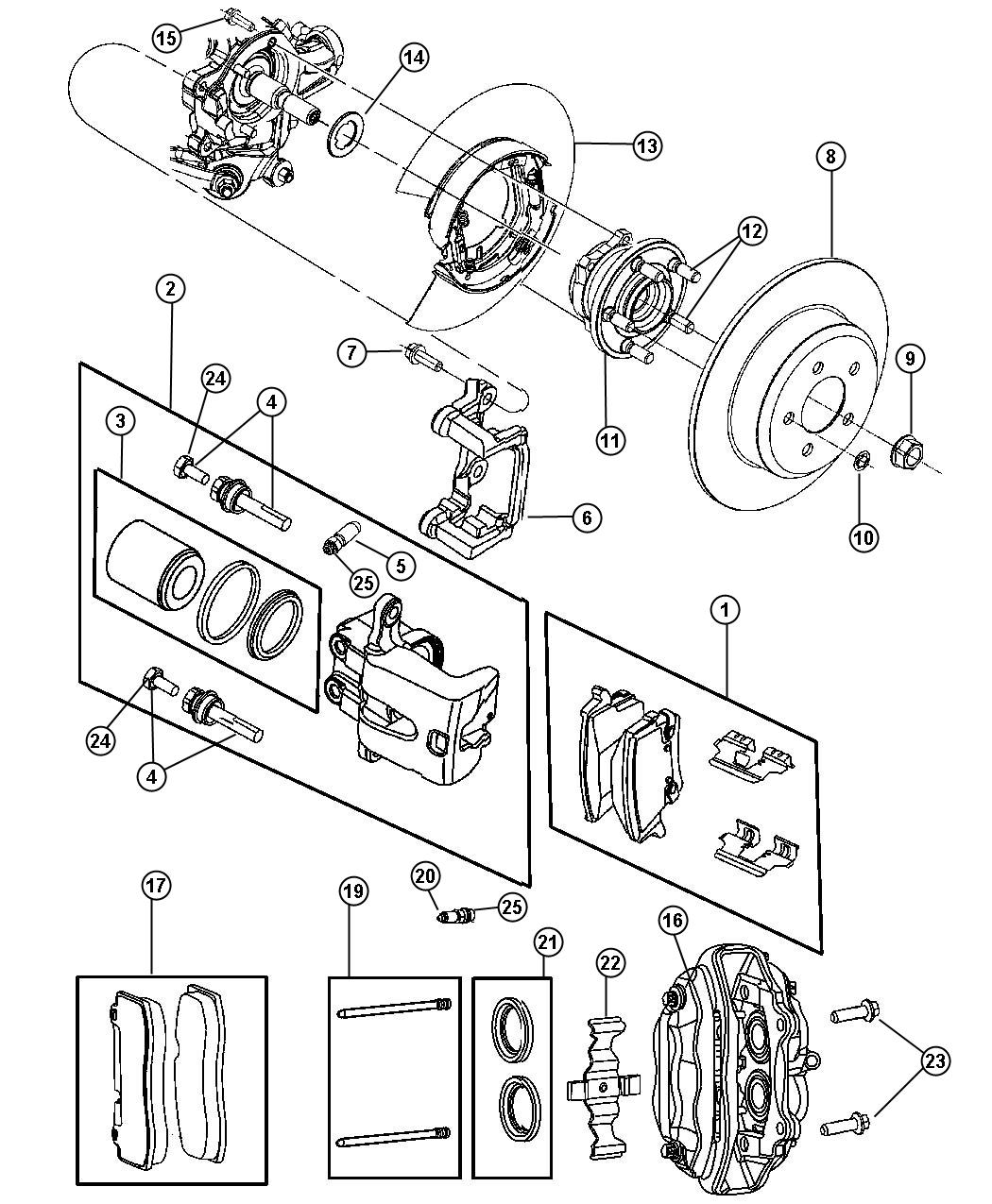 Dodge Charger Caliper assembly. Disc brake. Rear. Left