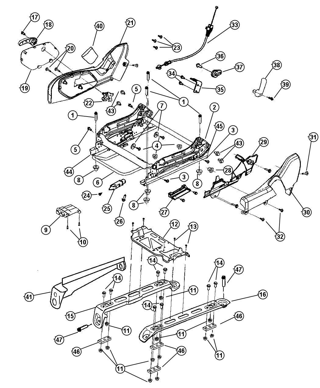 Jeep Grand Cherokee Adjuster. Manual seat. Trim: [cloth