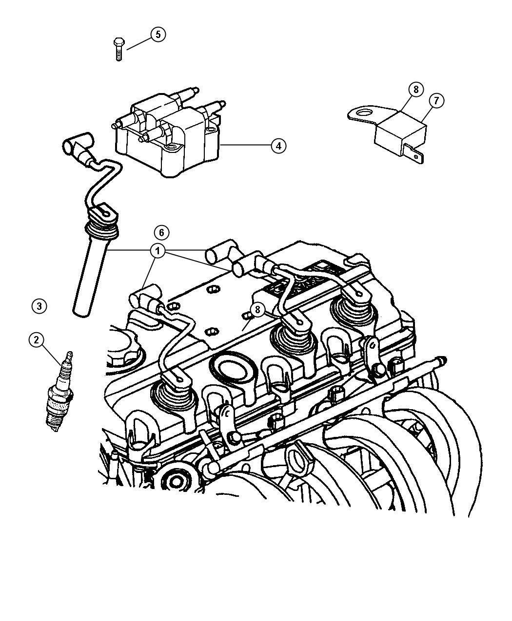 2003 Dodge Neon SXT 2.0L 4 Cyl A/T Spark plug. Re-14mc-c5
