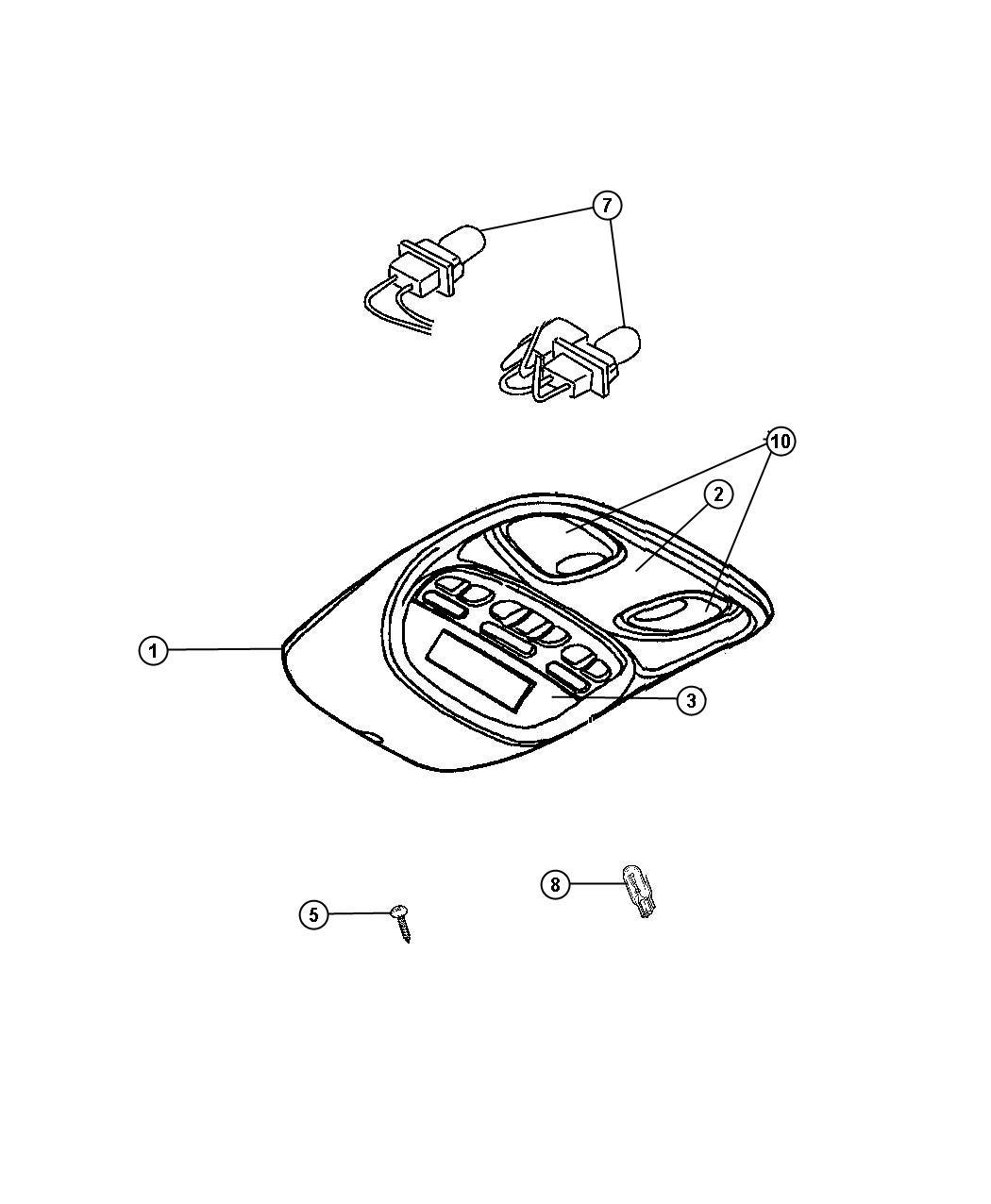 Dodge Durango Lens. Courtesy lamp. Overhead console. Left
