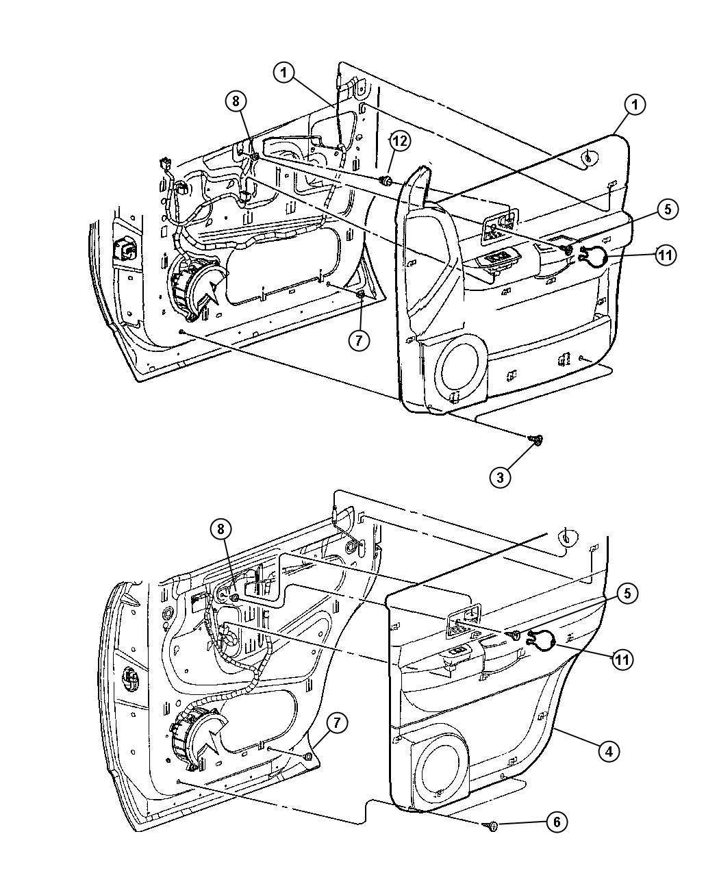 Dodge Durango Panel. Rear door trim. Right. Trim: [cloth