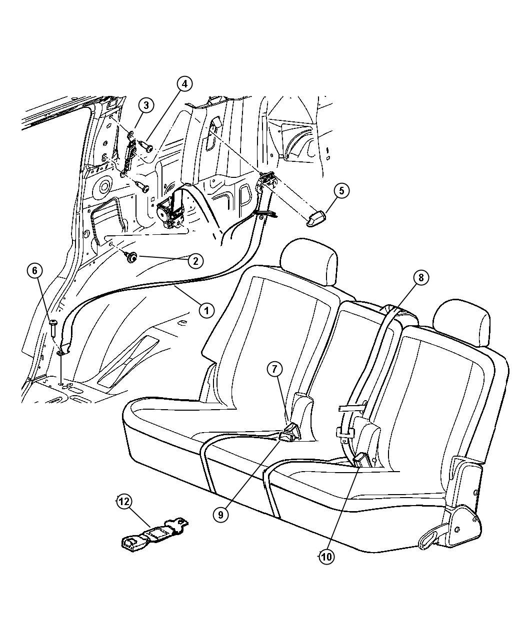 Dodge Durango Seat Belt Rear Outer Left Db Trim