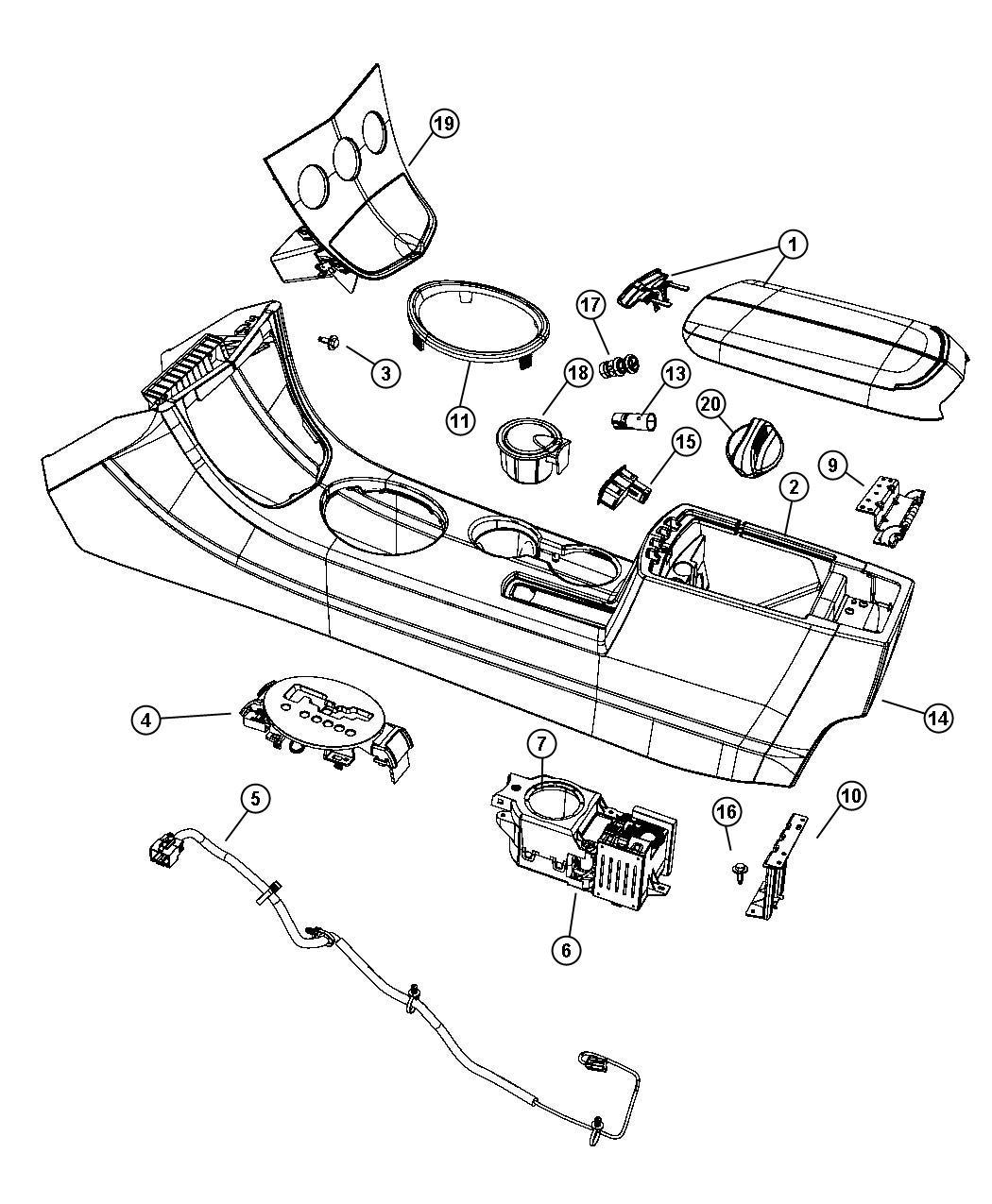 Chrysler Sebring End Cap Console Dk Lt Slate Gray Db