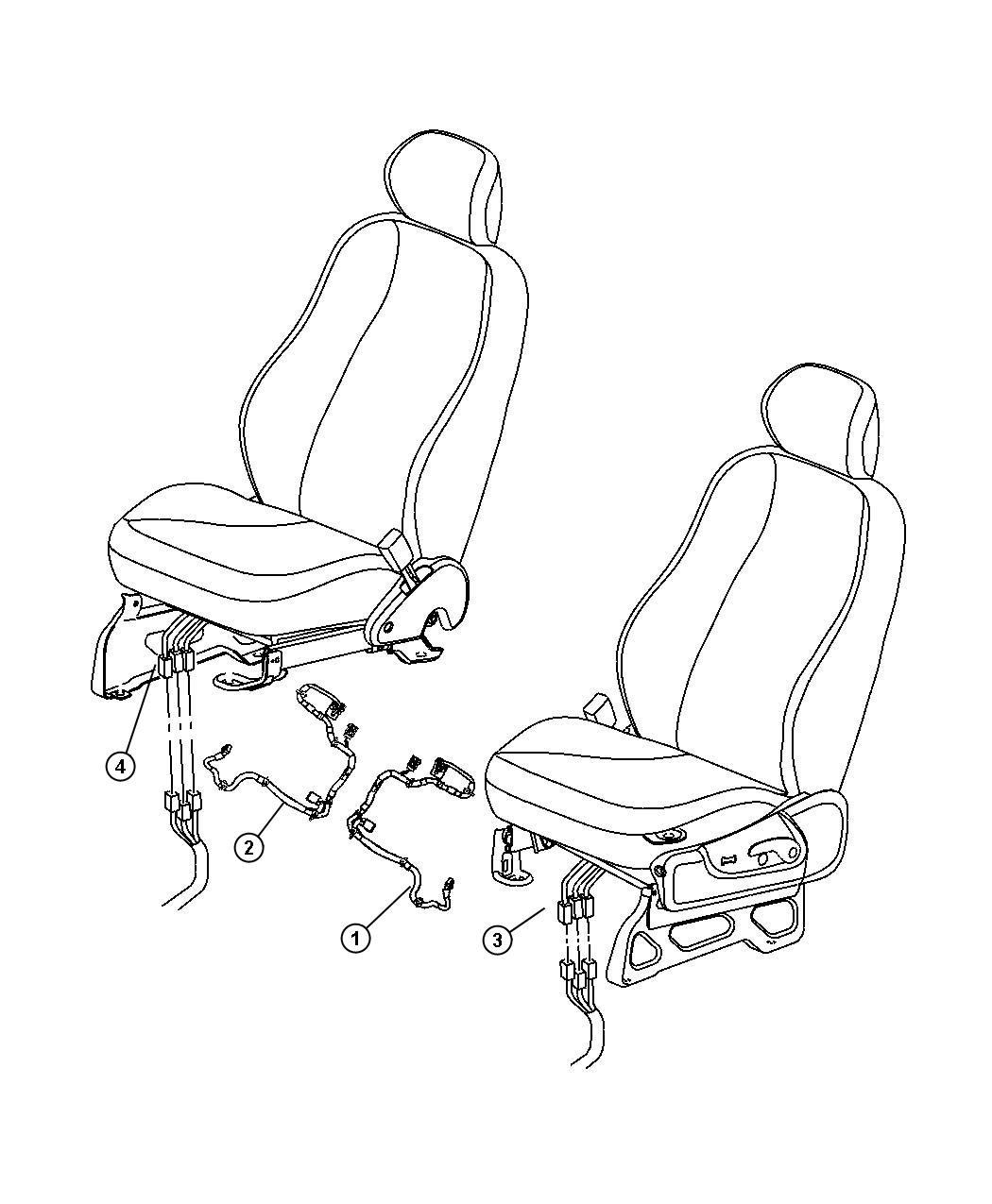 Dodge Nitro Wiring. Heated seat. Right. Export. Trim