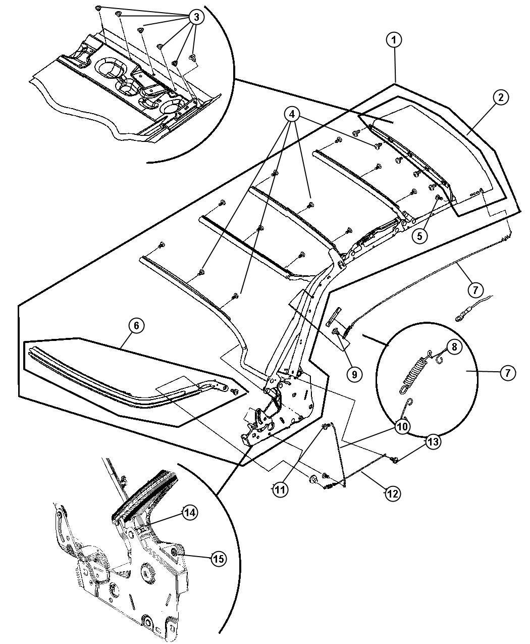 Chrysler Pt Cruiser Header Folding Top Latches