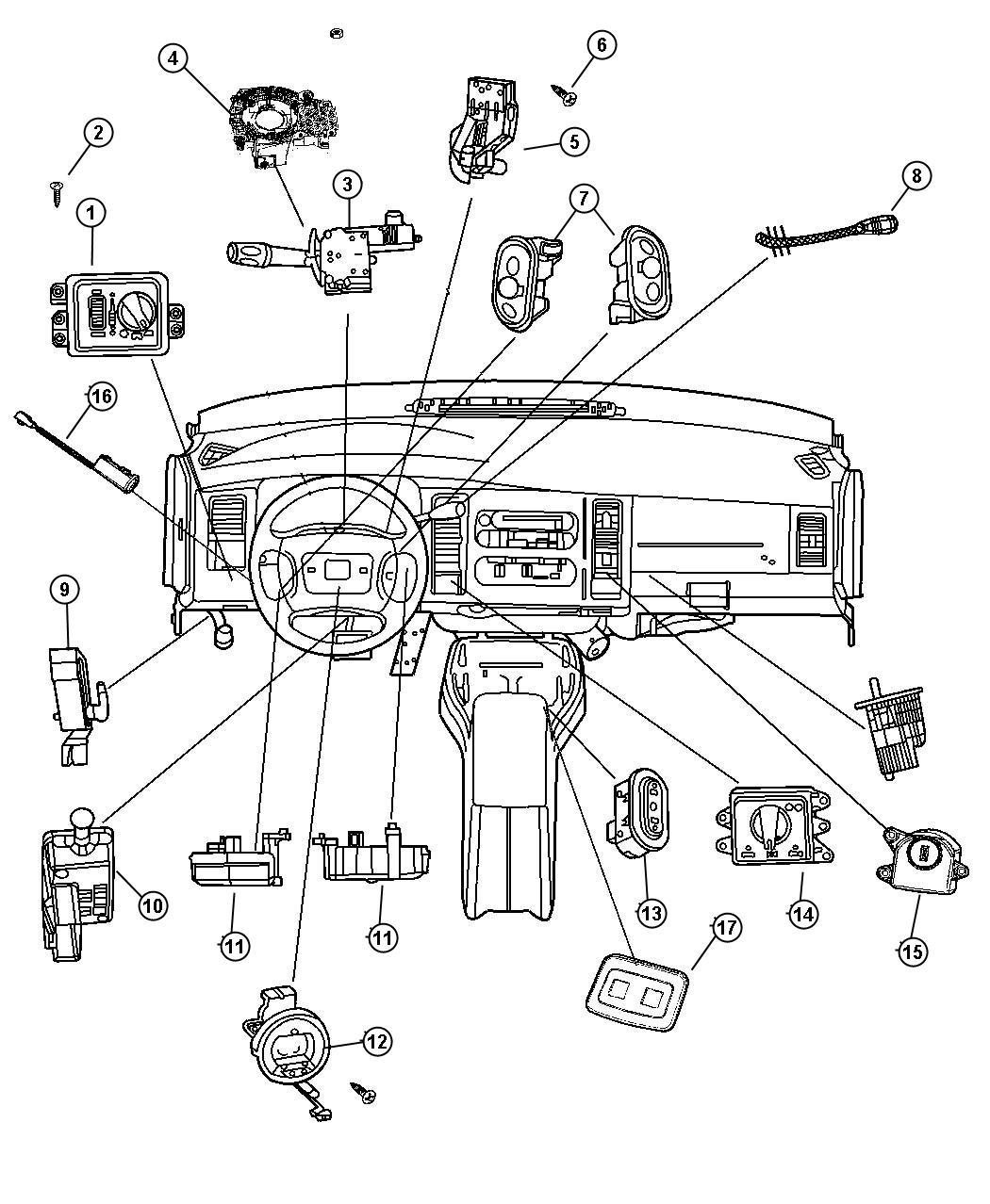 2007 Dodge Ram 1500 Switch. Ignition. Wiperstilt
