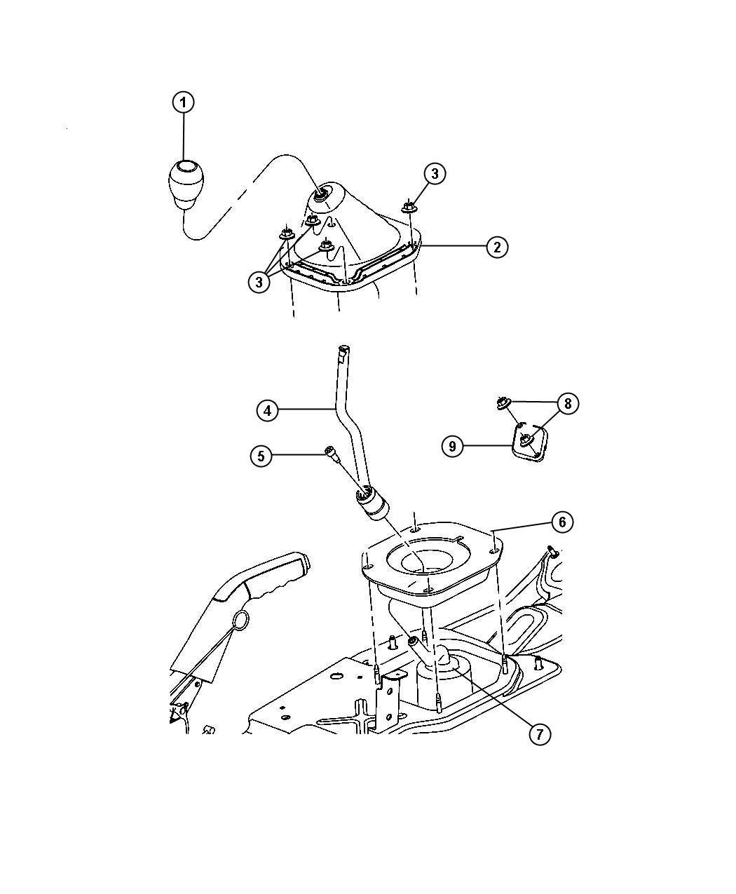 Dodge Nitro Screw. Cap. Trans gear shift control lever