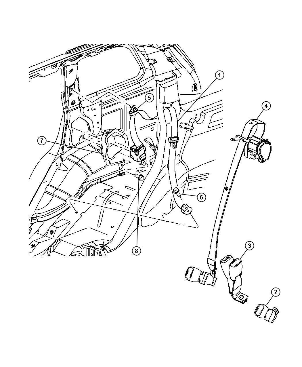 Jeep Grand Cherokee Seat Belt Rear Outer Left J3