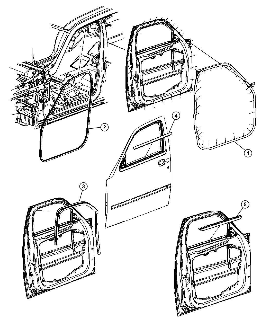 Dodge Nitro Weatherstrip. Front door belt inner. Left