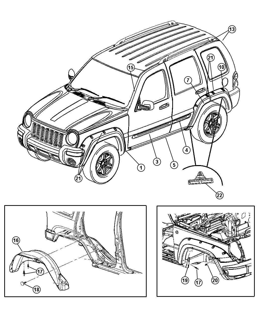 Jeep Liberty Applique. Rear door. Left. [med. Khaki