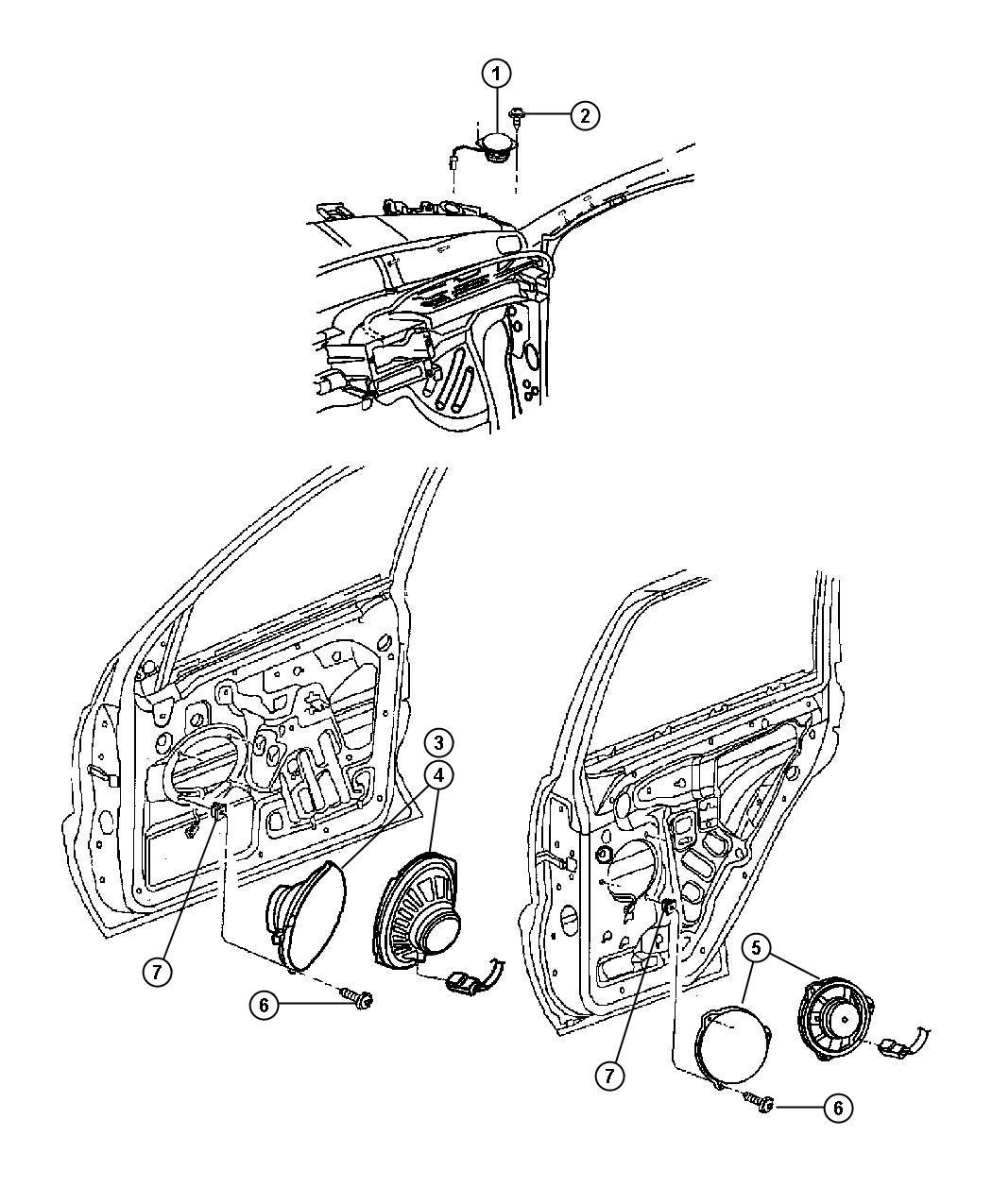 Chrysler 200 Speaker. Front, instrument panel. 3.5. Center