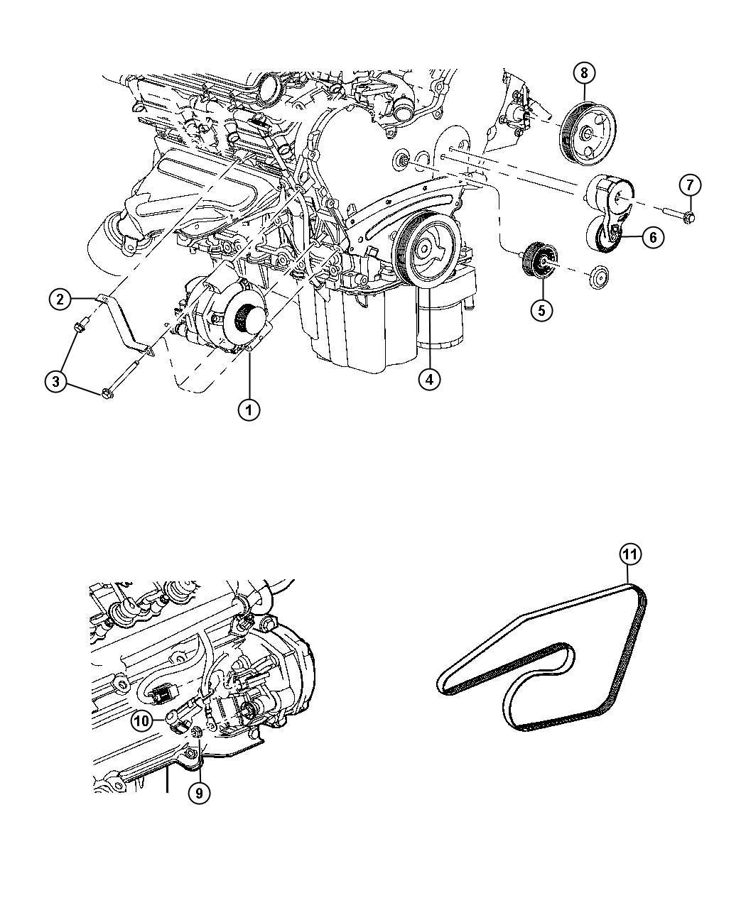 2007 Chrysler Tensioner, tensioner arm. Belt, pivot