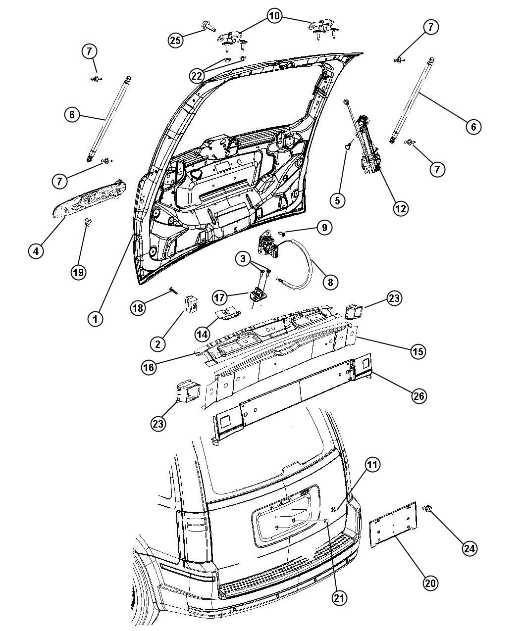 Dodge Grand Caravan Panel. Liftgate opening. Lower rear