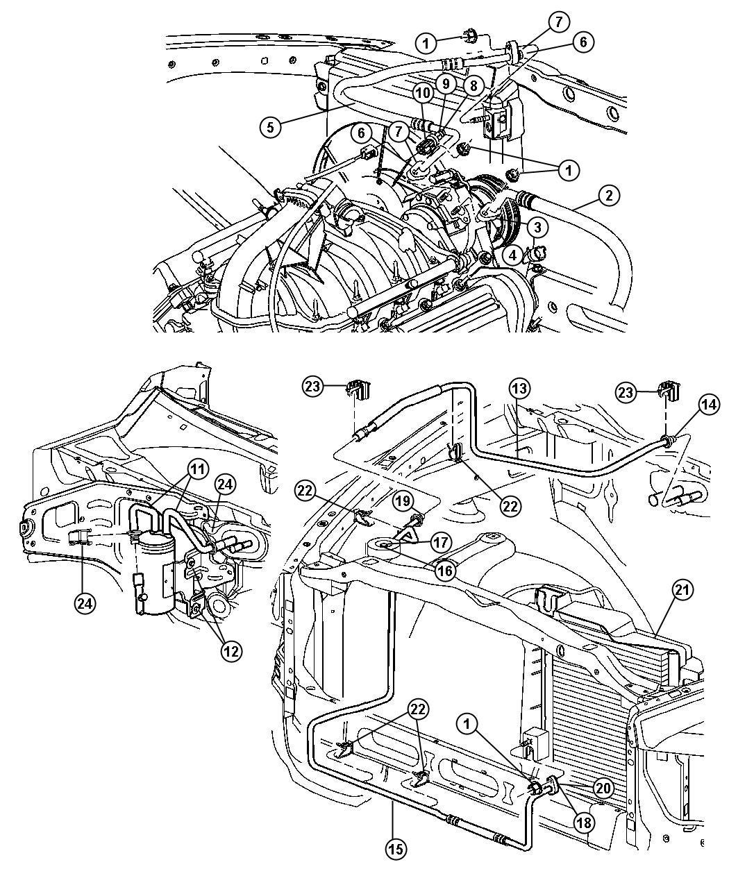 Dodge Dakota Clip. Wiring. Liquid line attaching, with air