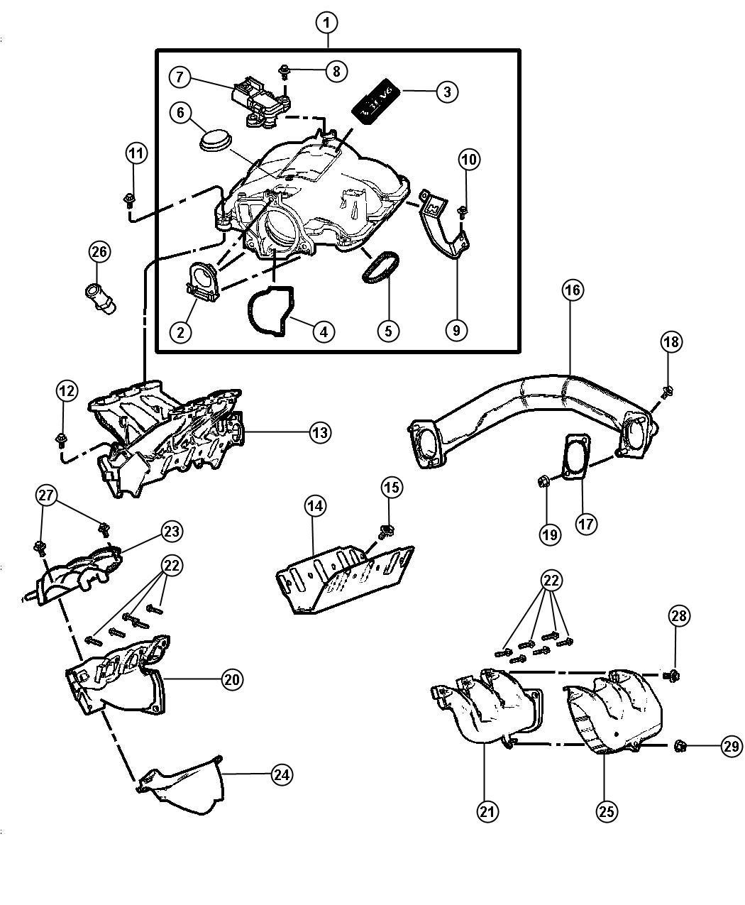 Chrysler Pacifica Plenum. Intake manifold. Notes, midyear