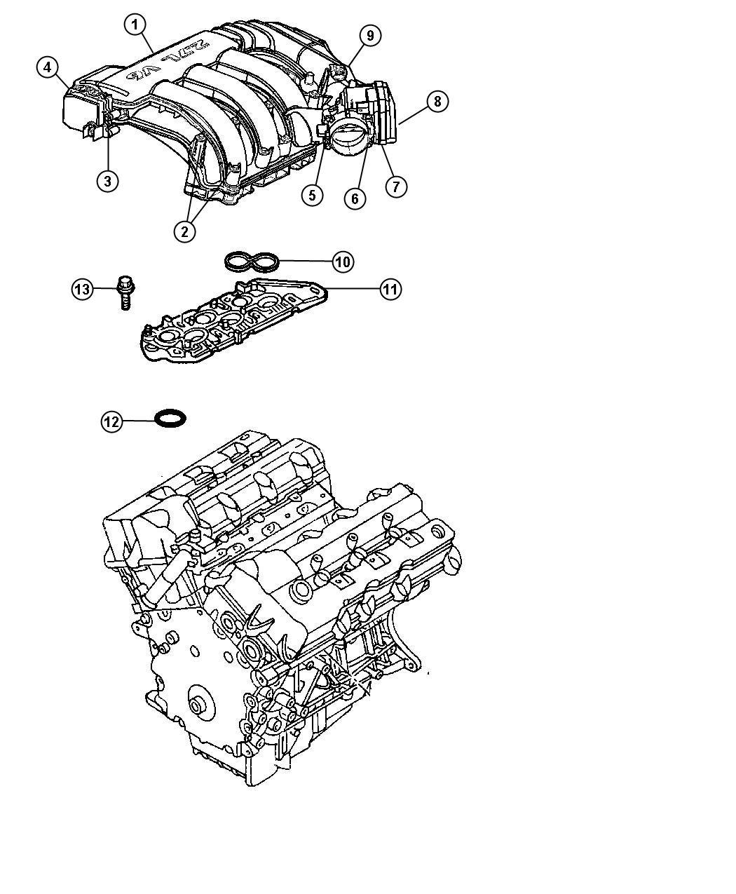 Dodge Stratus Gasket. Intake manifold. Lower, mounting