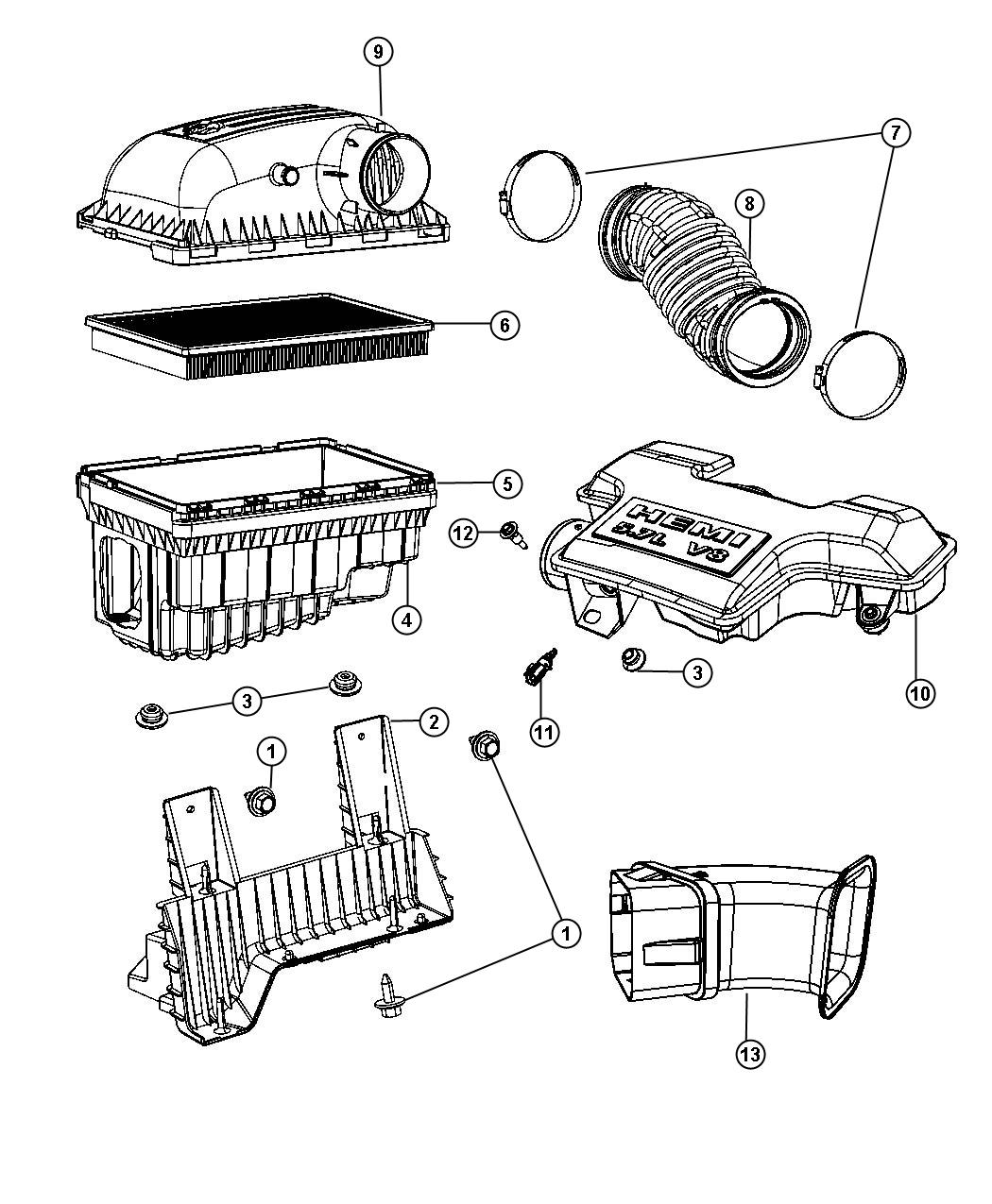 Dodge Ram Cover Air Cleaner Compoants