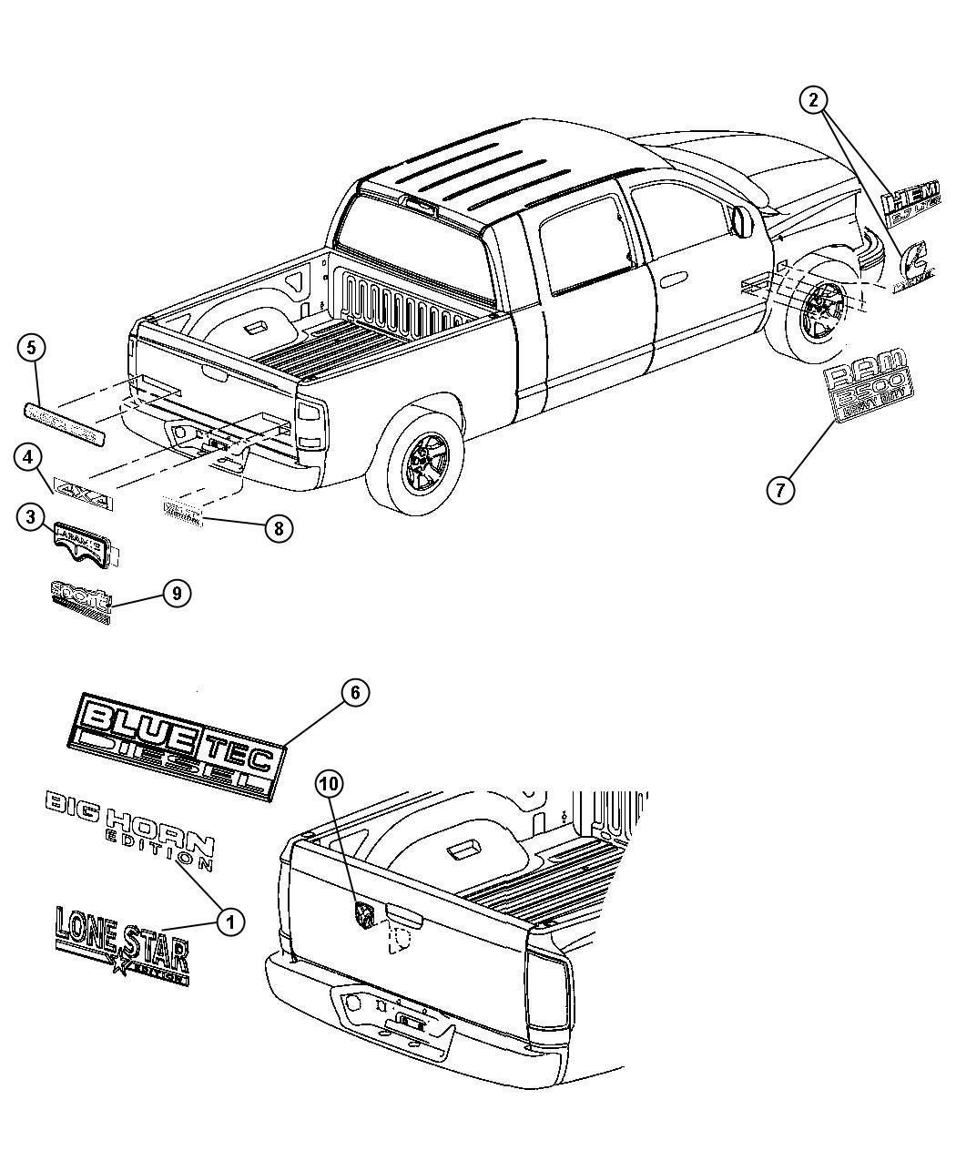 Dodge Ram 3500 Nameplate. [bluetec diesel], [bluetec