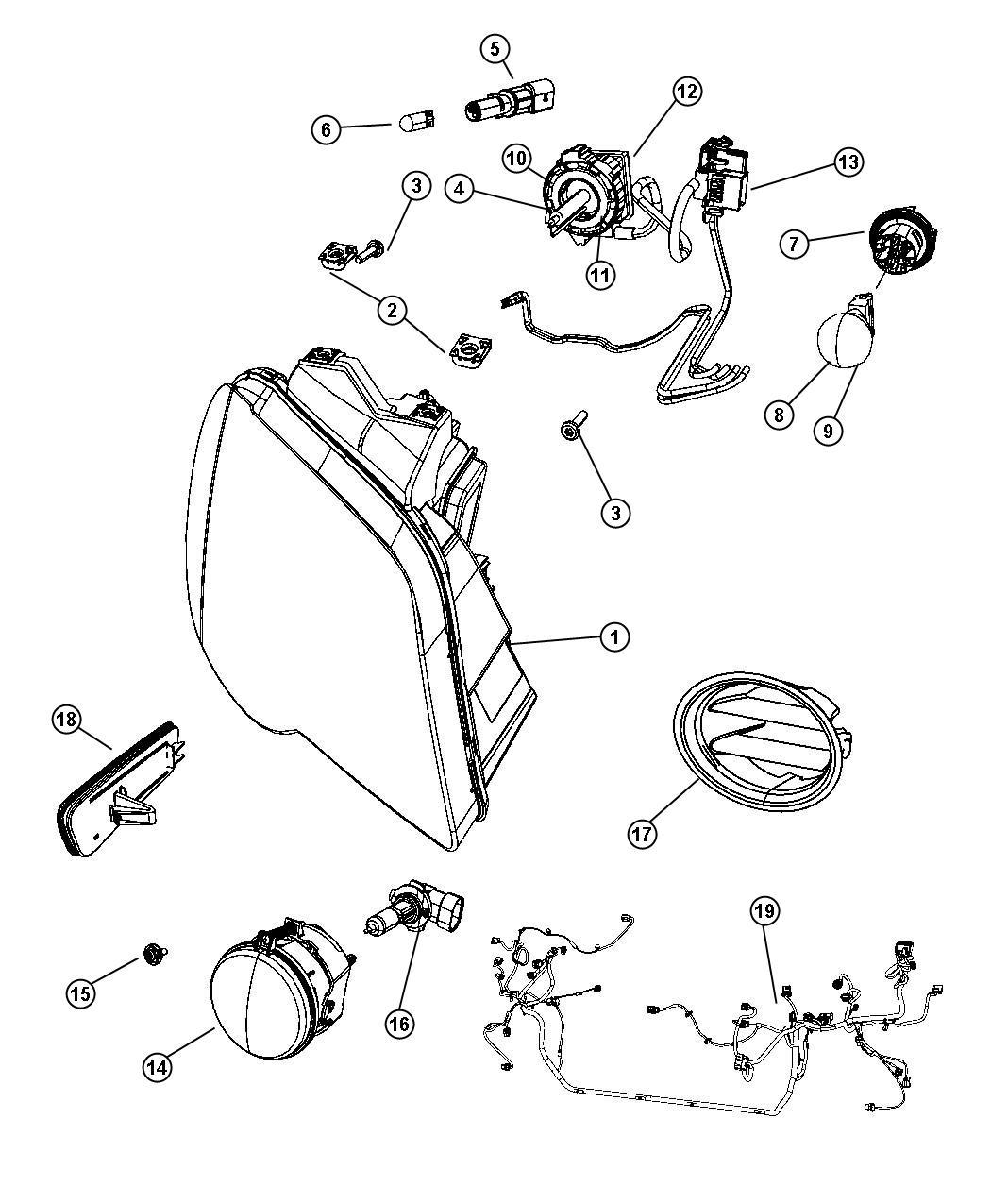 Chrysler Pacifica Clip Headlamp Mounting