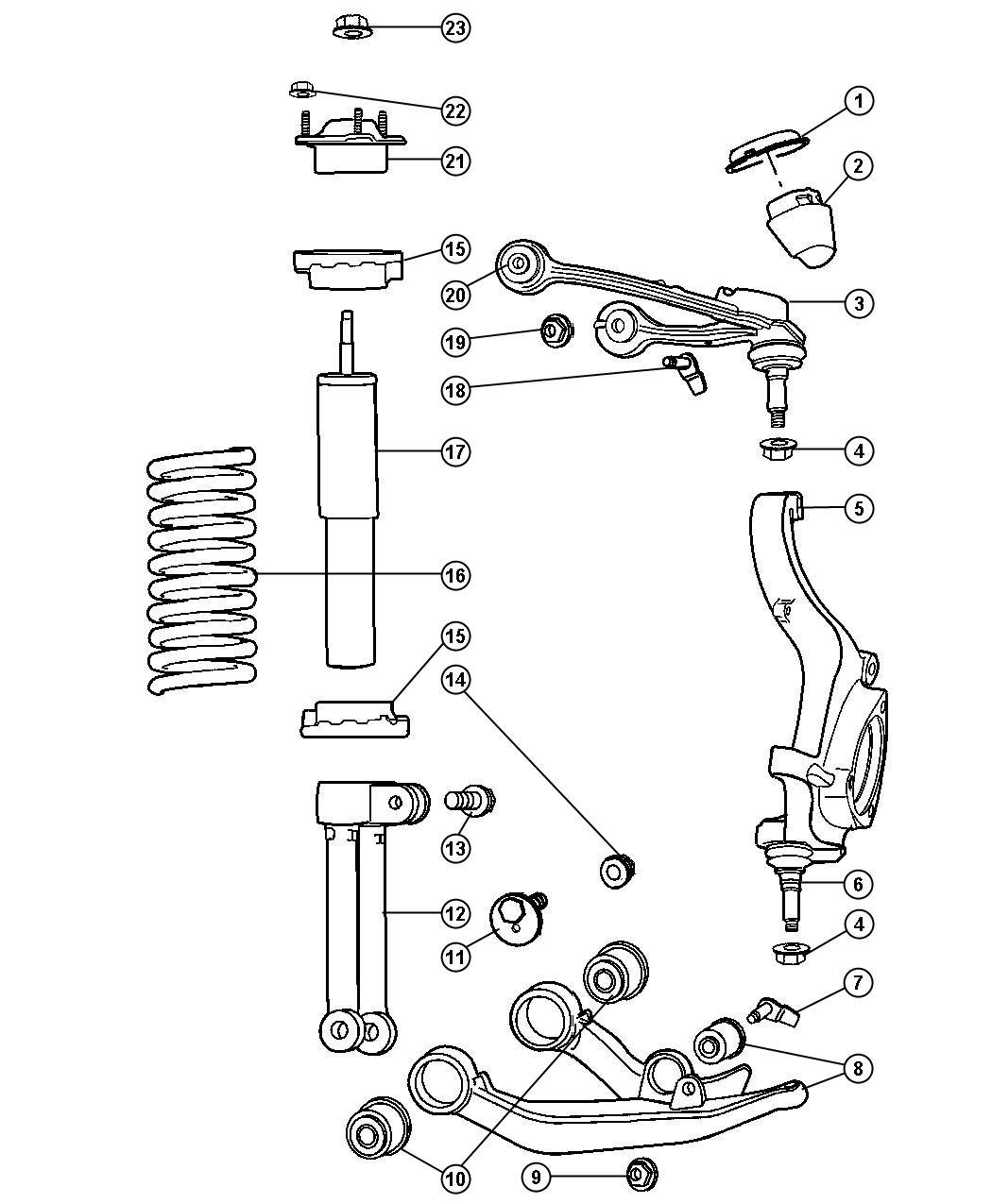 Dodge Nitro Shock absorber package. Suspension. Front