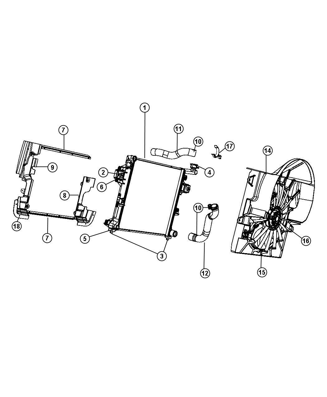 Jeep Grand Cherokee Radiator. Engine cooling. Magneti