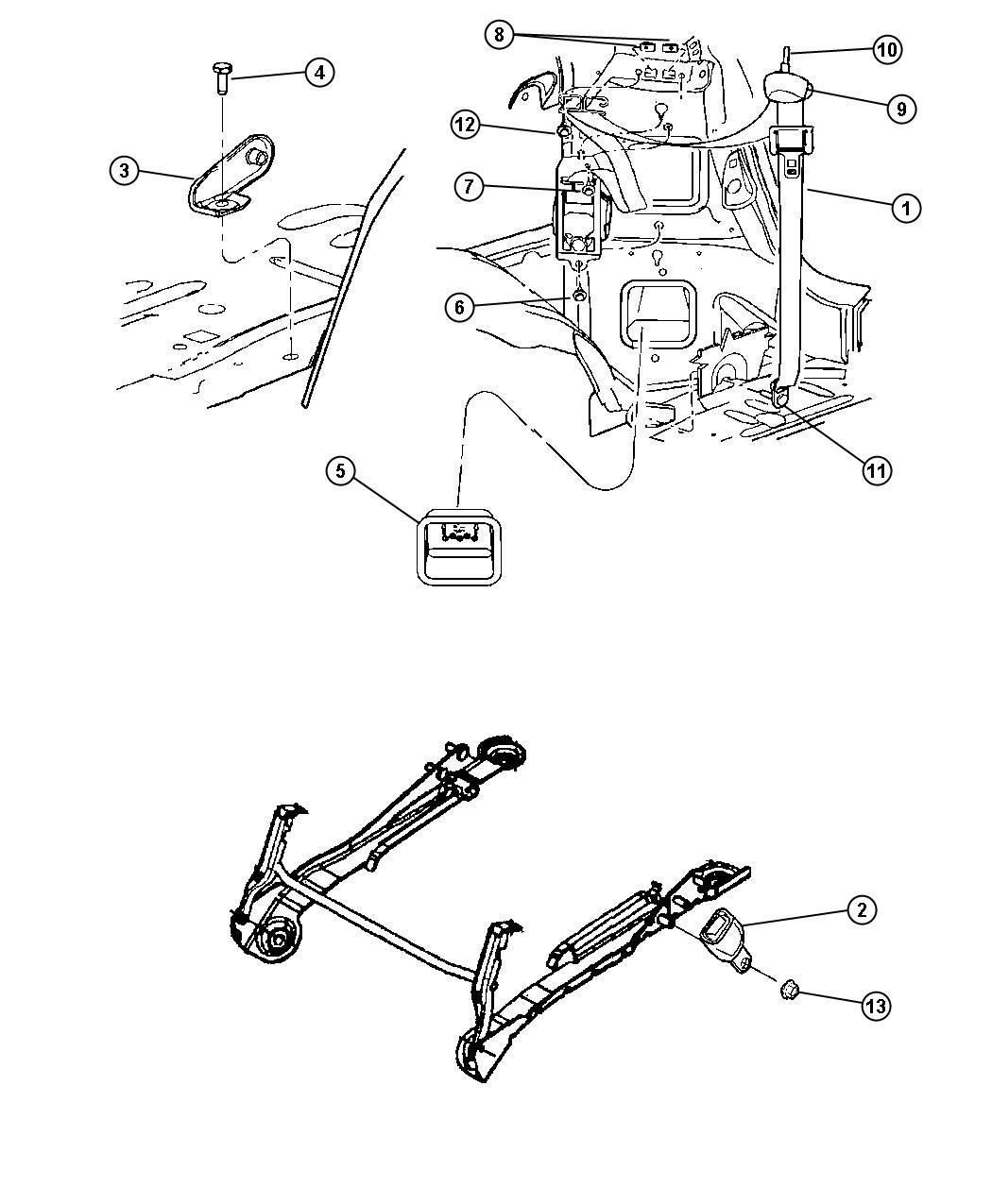 Chrysler Pacifica Seat belt. Rear inner. [da]. Trim: [lux