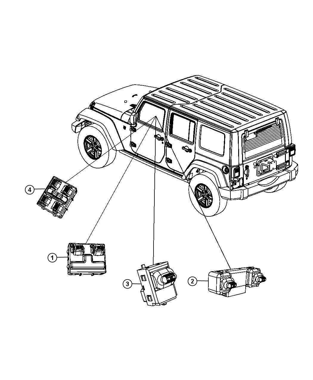 Jeep Wrangler Switch. Door lock. [full metal doors w/roll