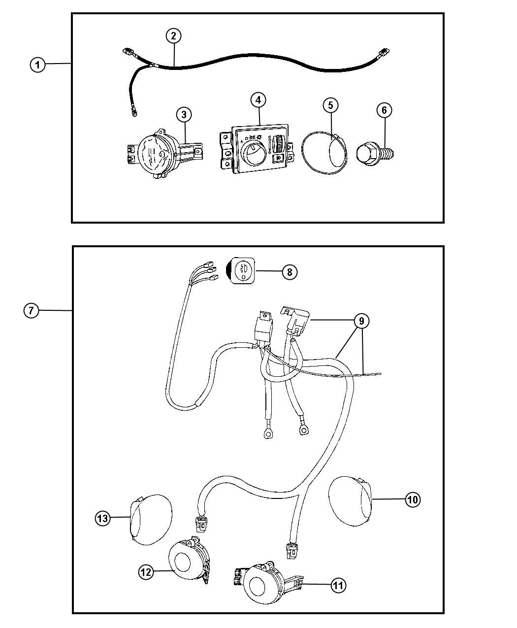 Dodge Ram 1500 Fog Lights, Complete Kit, includes switch