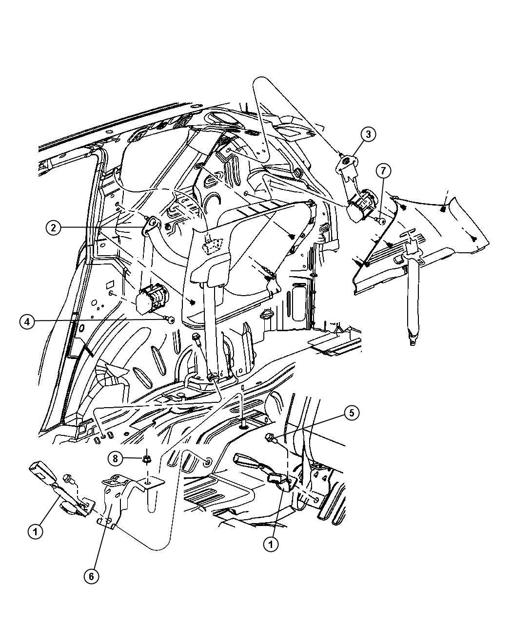 Jeep Patriot Seat belt. Rear outer. Right. [ka]. Trim