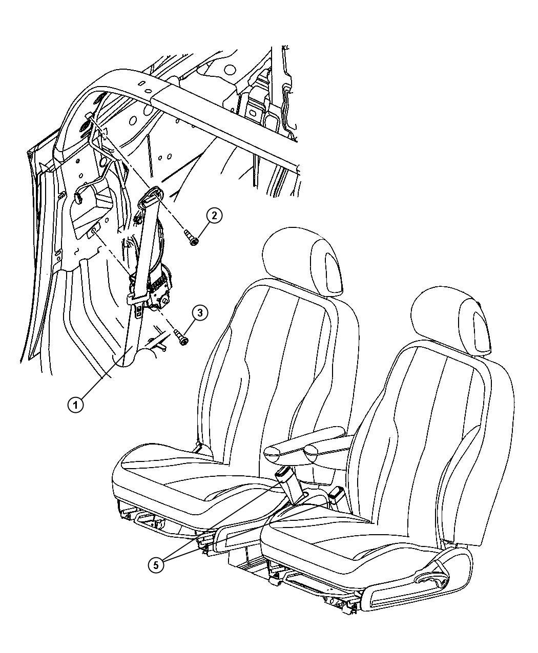 Chrysler Pt Cruiser Seat belt. Front outer. Left. [da