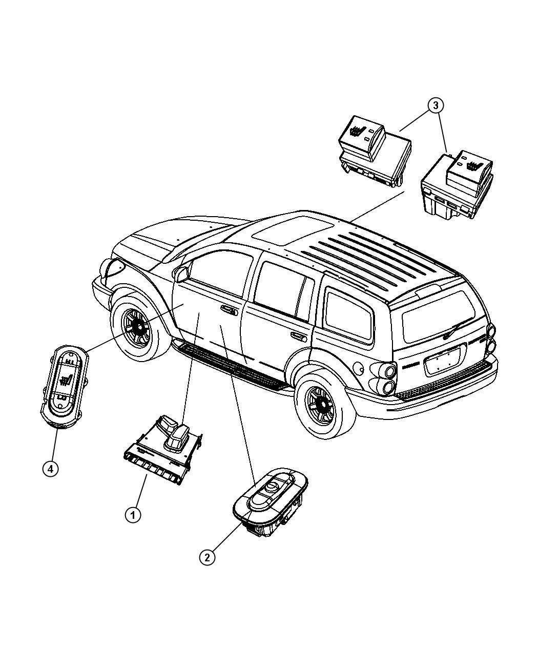 Dodge Durango Switch. Memory selector. [j3]. Trim: [all