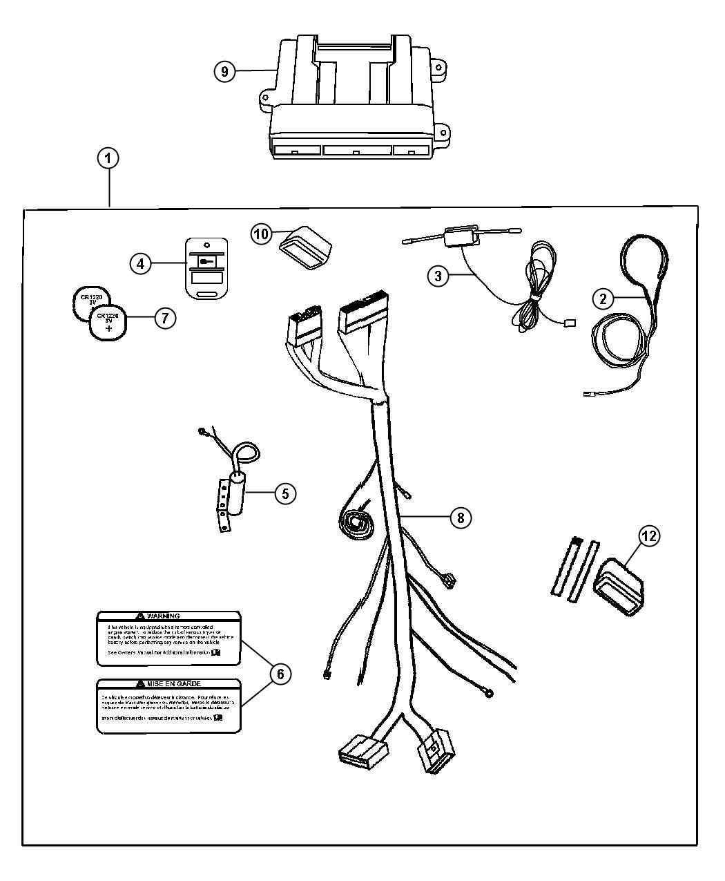 Chrysler Pacifica Installation kit includes harness, long