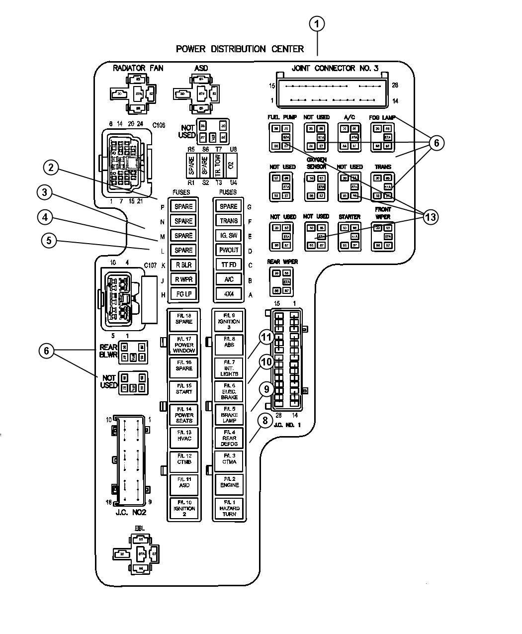 Dodge Dakota Fuse cartridge. 50 amp. Export, us, canada