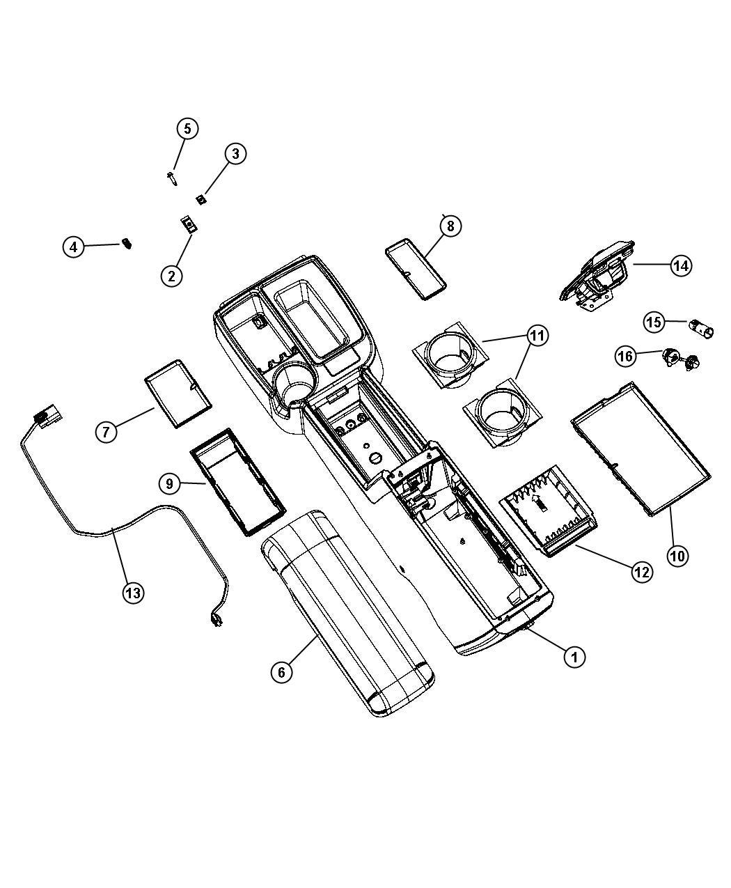 Dodge Dakota Lid. Center console storage. Trim: [all trim
