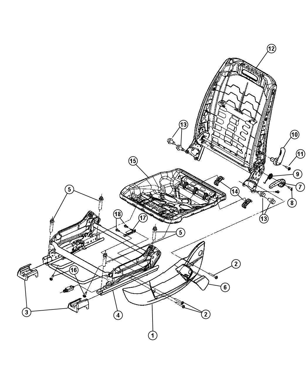Dodge Magnum Handle. Recliner. [db]. Trim: [cloth low-back
