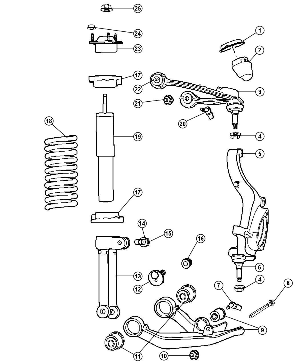 Jeep Liberty Shock absorber package. Suspension. Front