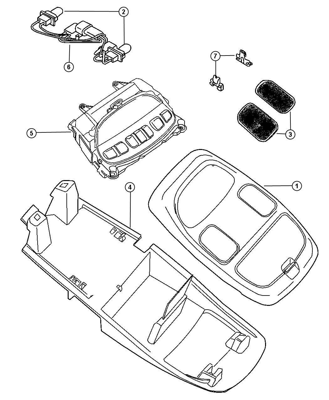 Dodge Ram 1500 Wiring. Overhead console. Trim: [all trim