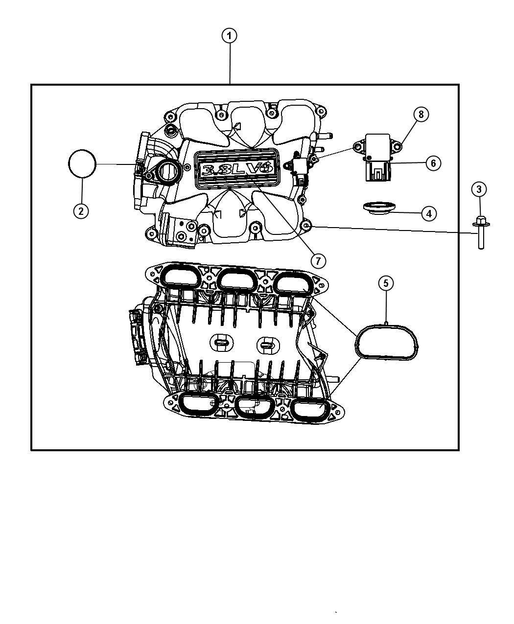 Jeep Wrangler Seal Egr Tube W Plastic Manifold