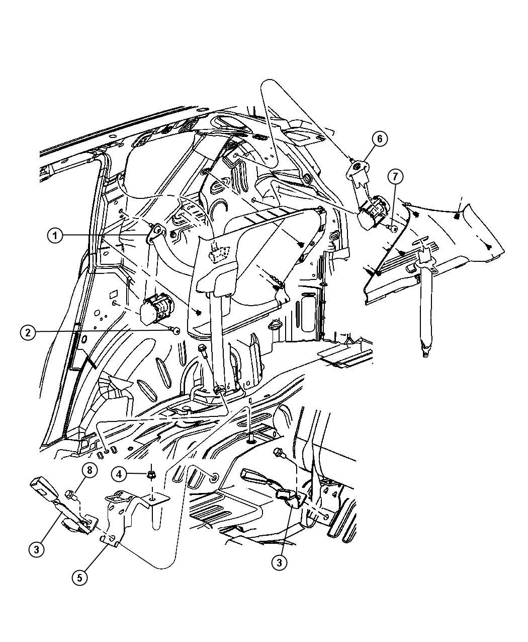 Dodge Caliber Seat Belt Rear Inner Right Da Trim