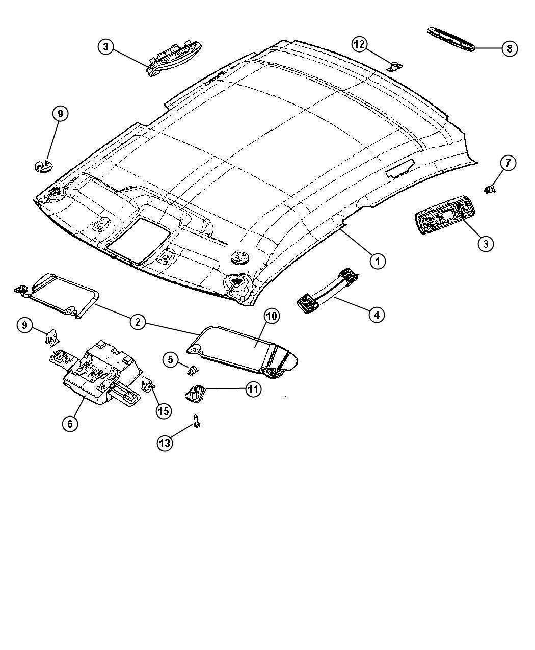 Dodge Retainer Headliner Trim O0