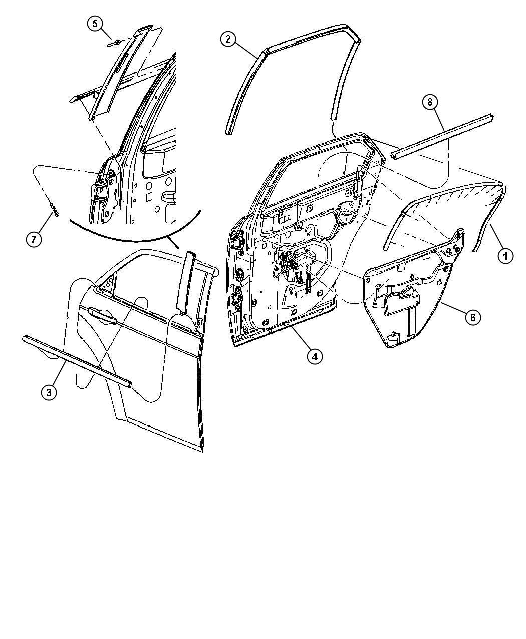2007 Dodge Magnum R/T 5.7L Hemi V8 Weatherstrip. Rear door