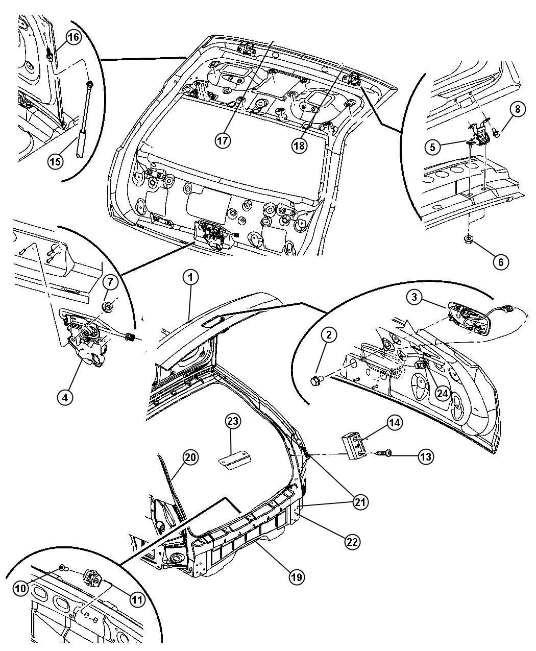 2007 Dodge Magnum BASE 2.7L V6 Latch. Liftgate. Without