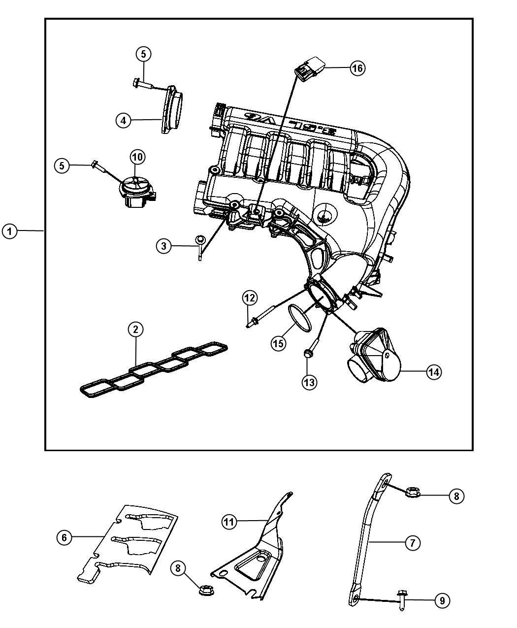 2008 Chrysler 300 Actuator kit. Secondary runner valve