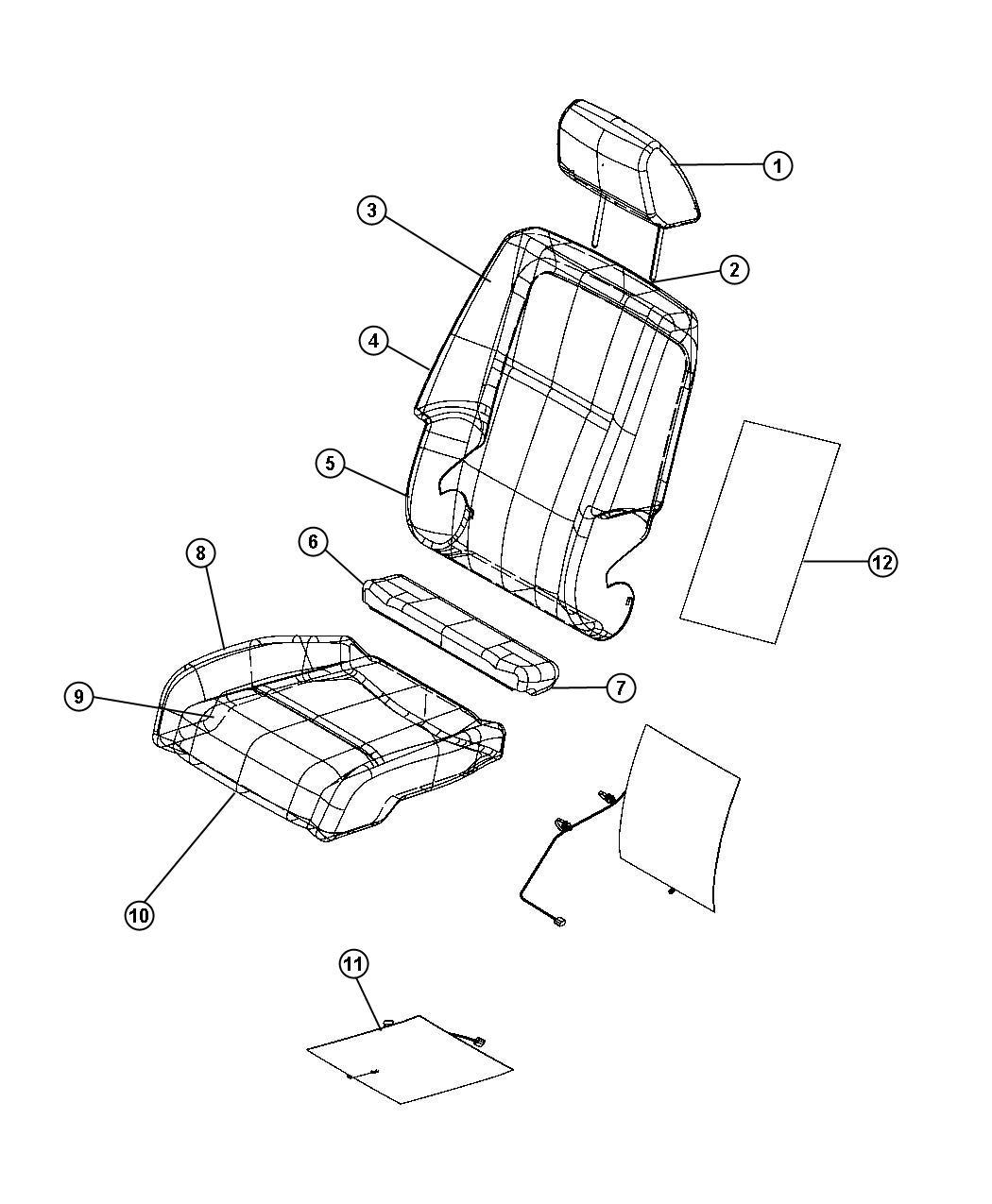 Dodge Journey Headrest. Front. [ka]. Trim: [prem cloth low