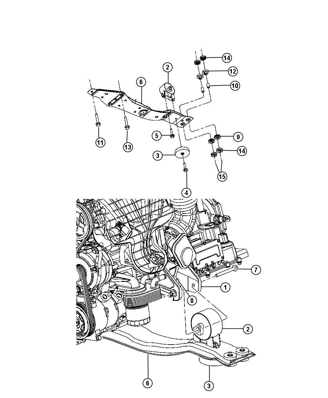 Dodge Avenger Bushing Isolator Front 2 4l 4 Cyl Dohc