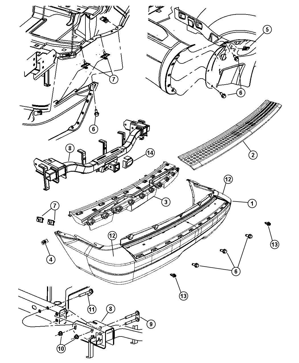 Chrysler Aspen Fascia. Rear. Primed. With [parksense rear