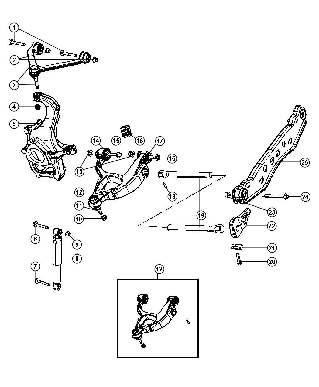 Chrysler Aspen Shock absorber. Suspension. Front. [front